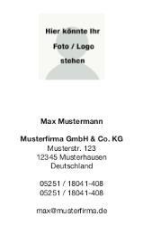 Visitenkarte Hochformat mit Logofeld
