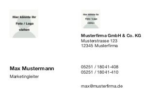 Visitenkarte quer mit Logofeld
